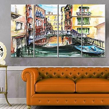 Art mural en métal, paysage de ville d'un pont rencontrant un canal à Venise