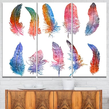 Rainbow Feathers Raster Illustration Metal Wall Art, 36x28, 3 Panels, (MT6136-36-28)