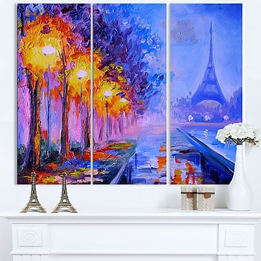 Eiffel from a Distance Landscape Metal Wall Art, 36x28, 3 Panels, (MT6137-36-28)