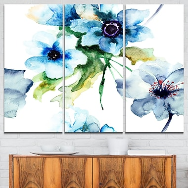 Seamless Summer Blue Flowers Floral Metal Wall Art