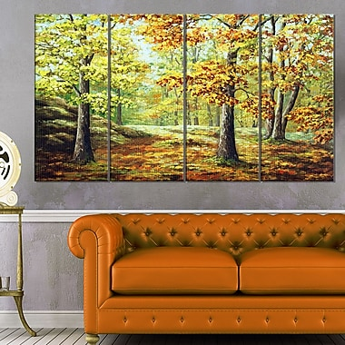 Autumn Wood Landscape Metal Wall Art, 48x28, 4 Panels, (MT6149-271)