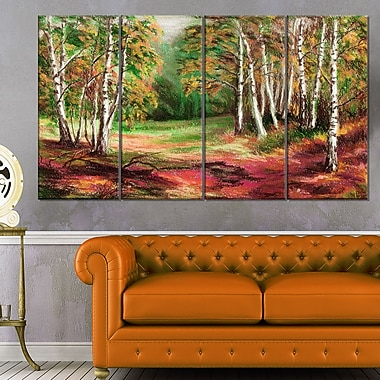 Green Autumn Forest Landscape Metal Wall Art, 48x28, 4 Panels, (MT6155-271)