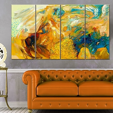 Abstract Yellow Collage Abstract Large Metal Wall Art, 48x28, 4 Panels, (MT6156-271)