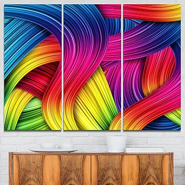 3D Rainbow Abstract Metal Wall Art, 36x28, 3 Panels, (MT6157-36-28)