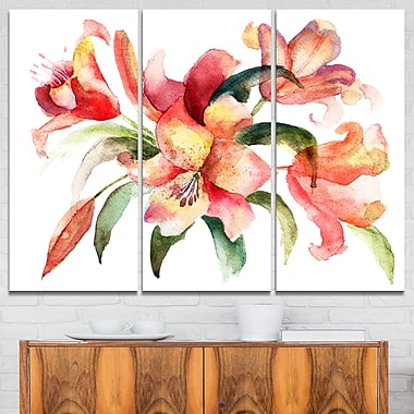 Lily Flowers WaterColour Illustration Metal Wall Art, 36x28, 3 Panels, (MT6160-36-28)