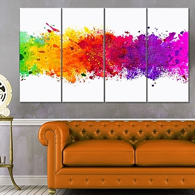 Artistic WaterColour Splash Abstract Metal Wall Art, 48x28, 4 Panels, (MT6164-271)