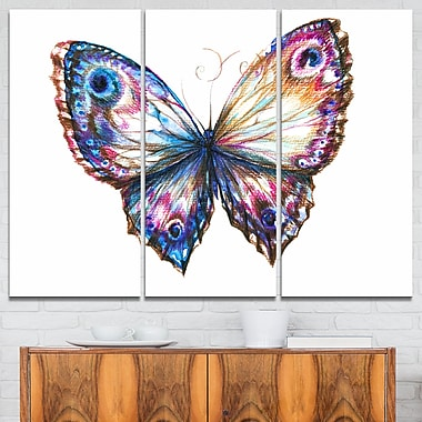 Isolated Butterfly Animal Metal Wall Art, 36x28, 3 Panels, (MT6165-36-28)