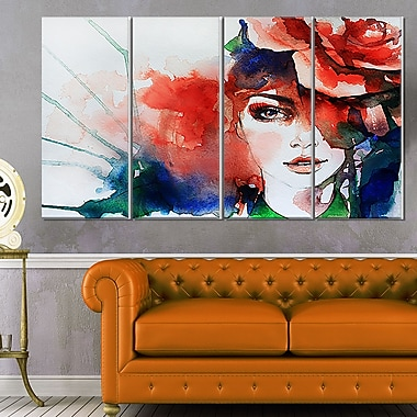 Woman with Rose Illustration Abstract Metal Wall Art, 48x28, 4 Panels, (MT6166-271)