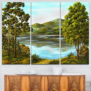 Mountain Lake with Blue Water Landscape Metal Wall Art, 36x28, 3 Panels, (MT6167-36-28)