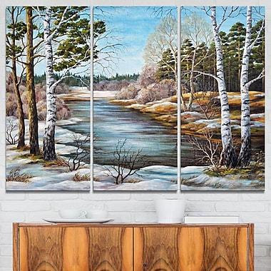The spring Siberian River Landscape Metal Wall Art, 36x28, 3 Panels, (MT6169-36-28)