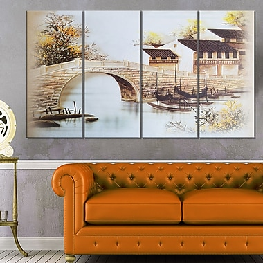 Japanese Old Bridge Landscape Metal Wall Art, 48x28, 4 Panels, (MT6170-271)