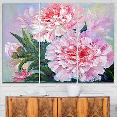 Full Blown Peonies Floral Metal Wall Art, 36x28, 3 Panels, (MT6173-36-28)