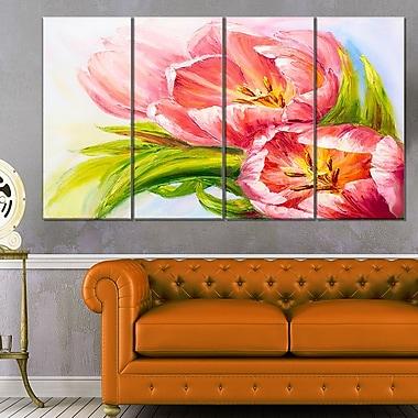 Art mural floral en métal, tulipes, 48 x 28 po, 4 panneaux, (MT6174-271)