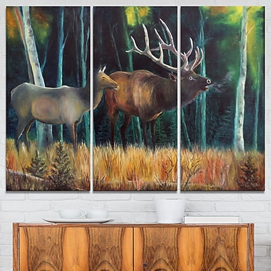 Wandering Deer in Forest Animal Metal Wall Art, 36x28, 3 Panels, (MT6178-36-28)