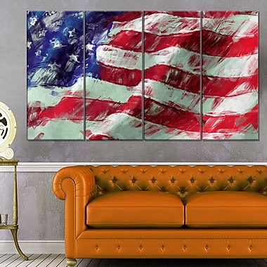 USA Flag Abstract Art, Map & Flag Metal Wall Art, 48x28, 4 Panels, (MT6179-271)