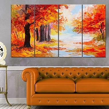 Art mural en métal, paysage, forêt d'automne orange, 48 x 28 po, 4 panneaux, (MT6180-271)