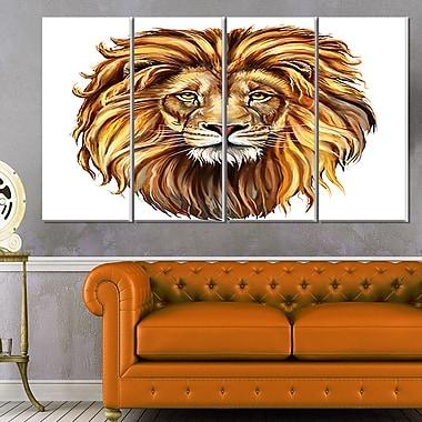 Art mural en métal d'animal, Aslan, le roi lion, 48 x 28 po, 4 panneaux, (MT6182-271)