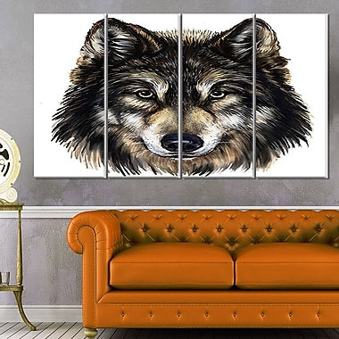 Wolf Head Animal Metal Wall Art, 48x28, 4 Panels, (MT6183-271)