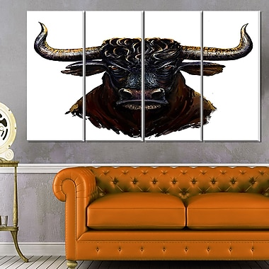 Furious Bull Illustration Art, Animal Metal Wall Art, 48x28, 4 Panels, (MT6187-271)
