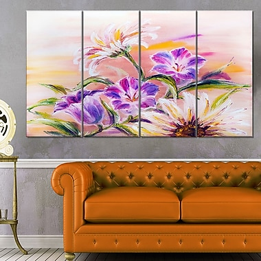 Purple Wildflowers Floral Metal Wall Art, 48x28, 4 Panels, (MT6188-271)