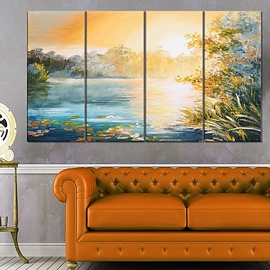 Sunset on the Lake Landscape Metal Wall Art, 48x28, 4 Panels, (MT6189-271)