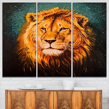 The Lion of Judah Animal, art mural en métal, 36 x 28, 3 panneaux, (MT6190-36-28)