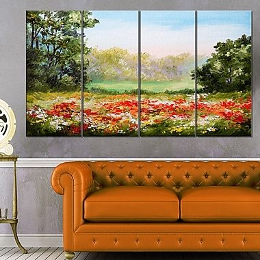 Poppy Field with Sky Landscape Metal Wall Art, 48x28, 4 Panels, (MT6197-271)