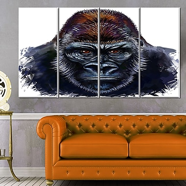 Gorilla Male Illustration Animal Metal Wall Art
