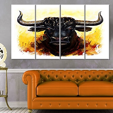 Fierce Bull Illustration Animal Metal Wall Art, 48x28, 4 Panels, (MT6200-271)