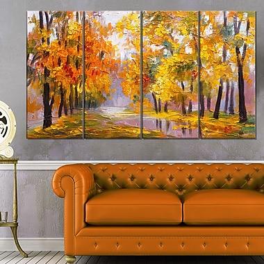 Art mural en métal, paysage, plusieurs feuilles tombantes, 48 x 28 po, 4 panneaux, (MT6202-271)
