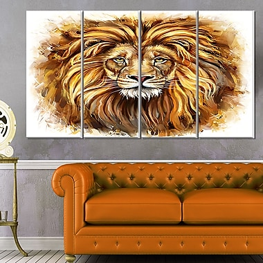 Angry King of Forest Animal Metal Wall Art, 48x28, 4 Panels, (MT6206-271)