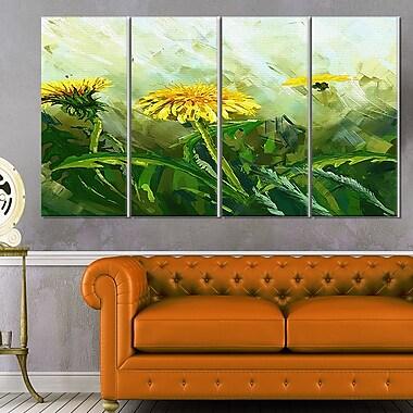 Dandelion Flowers Floral Metal Wall Art, 48x28, 4 Panels, (MT6207-271)
