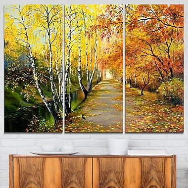 Beautiful Fall Forest Landscape Metal Wall Art, 36x28, 3 Panels, (MT6211-36-28)