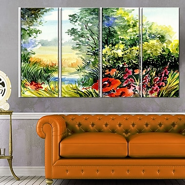 WaterColour Landscape with Flowers Metal Wall Art, 48x28, 4 Panels, (MT6214-271)