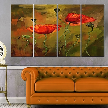 WaterColour Poppy Flowers Floral Metal Wall Art, 48x28, 4 Panels, (MT6216-271)