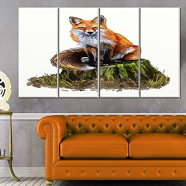 The Clever Fox Illustration Animal Metal Wall Art, 48x28, 4 Panels, (MT6217-271)