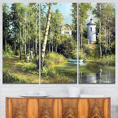 The River in the Spring Landscape Metal Wall Art, 36x28, 3 Panels, (MT6219-36-28)