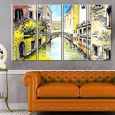 Canal in Venice Cityscape Metal Wall Art, 48x28, 4 Panels, (MT6220-271)