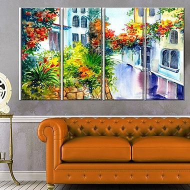 Flowers near the House Landscape Metal Wall Art, 48x28, 4 Panels, (MT6222-271)