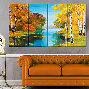 Birch Forest near the River Landscape Metal Wall Art, 48x28, 4 Panels, (MT6223-271)