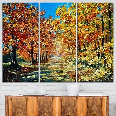 Bright Day in Autumn Forest Landscape Metal Wall Art