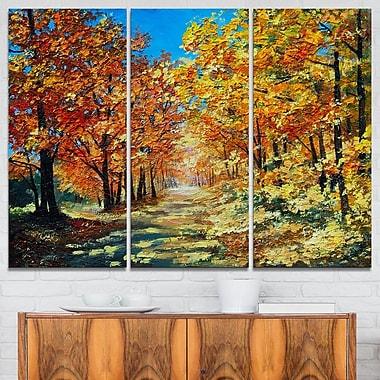 Art mural en métal, paysage, journée ensoleillée dans une forêt d'automne, 36 x 28 po, 3 panneaux (MT6227-36-28)