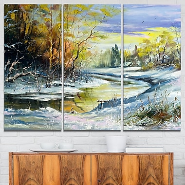 River in the Spring Woods Landscape Metal Wall Art, 36x28, 3 Panels, (MT6229-36-28)