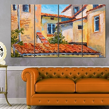 European Rooftops Cityscape Metal Wall Art, 48x28, 4 Panels, (MT6232-271)
