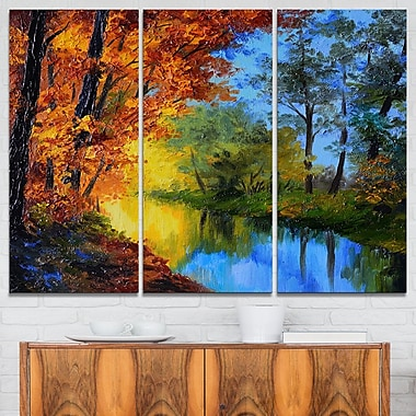 Autumn Reflecting in River Landscape Metal Wall Art, 36x28, 3 Panels, (MT6233-36-28)