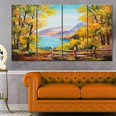 Mountain Lake in the Fall Landscape, art mural en métal, 48 x 28, 4 panneaux, (MT6234-271)