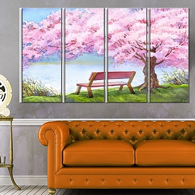 Bench under Flowering Peach Tree Floral Metal Wall Art, 48x28, 4 Panels, (MT6235-271)