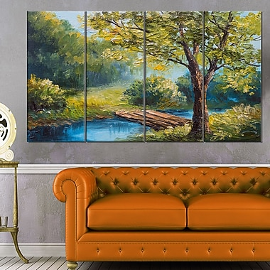 Summer Forest with Beautiful River Metal Wall Art
