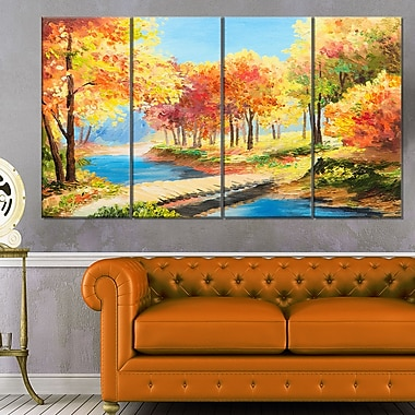 Wooden Bridge in Colourful Forest Metal Wall Art