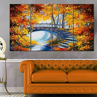 Fall Forest with a Bridge Landscape Metal Wall Art